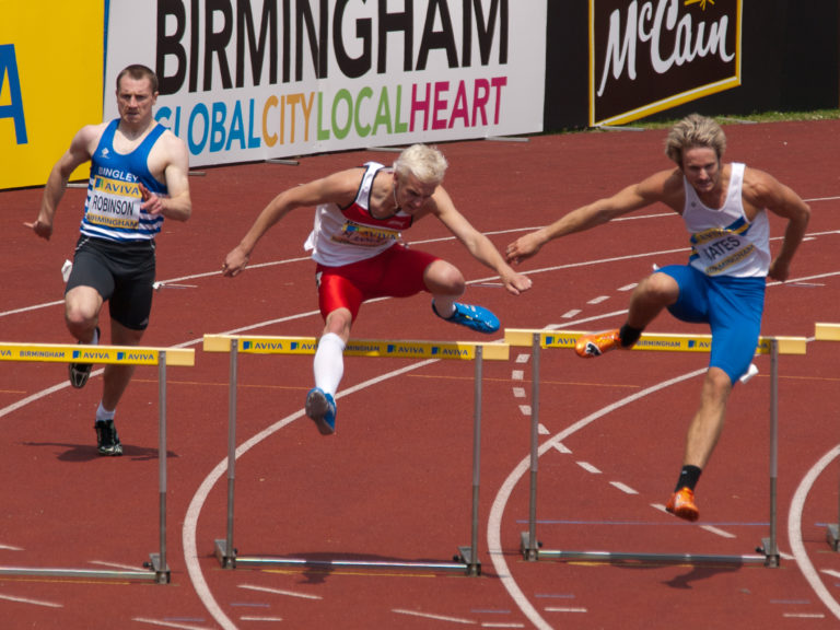Hurdlers in a race